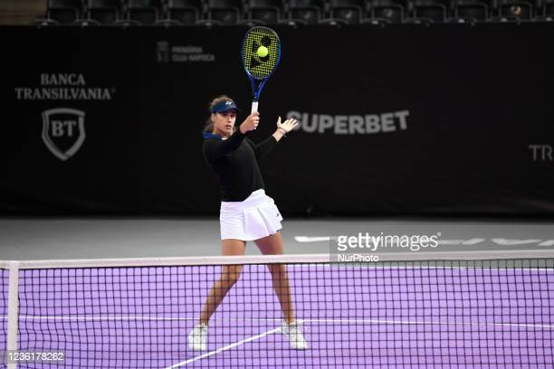 Ivana Jorovic in action during her match against Ana Bogdan during the third day of WTA 250 Transylvania Open Tour held in BT Arena, Cluj-Napoca 25...