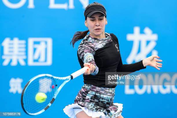 Ivana Jorovic of Serbia in action against Irina Bara of Romania during 2019 WTA Shenzhen Open Qualifying at Shenzhen Longgang Sports Center on...