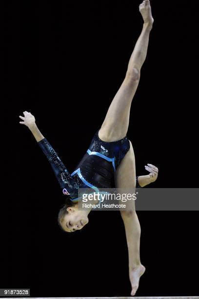 Ivana Kovacova of Slovakia competes in the balance beam event during the second day of the Artistic Gymnastics World Championships 2009 at O2 Arena...