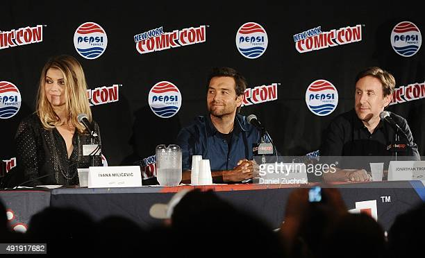 Ivana Milicevic Antony Starr and Jonathan Tropper attend the Banshee panel at New York ComicCon 2015 at The Jacob K Javits Convention Center on...