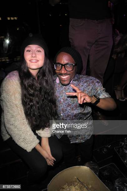 Ivana Miric and Anthony Cumberbatch Jr attends TPain's performance during Sunset Saturday at PhD Dream Downtown Hotel Rooftop on November 11 2017 in...
