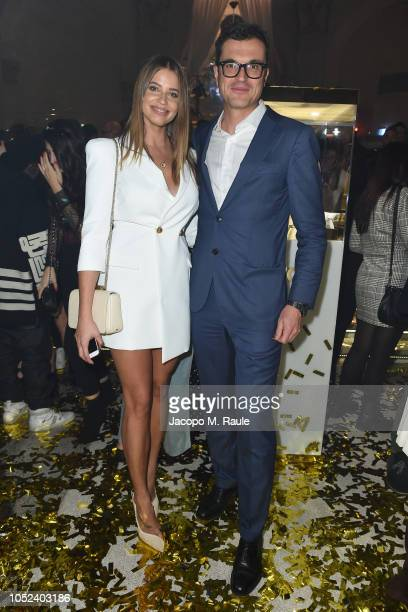Ivana Mrazova and Nicola Saraceno attend Stroili Holy Gold Party on October 17 2018 in Milan Italy
