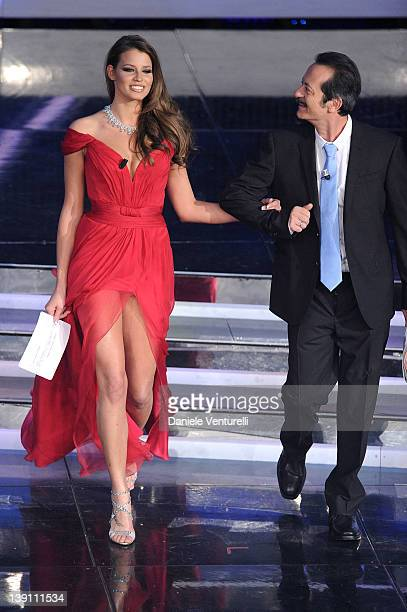 Ivana Mrazova and Rocco Papaleo attend the third day of the 62th Sanremo Song Festival at the Ariston Theatre on February 16 2012 in Sanremo Italy
