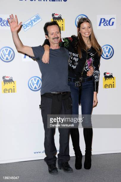 Ivana Mrazova and Rocco Papaleo attends a photocall during the day 5 of the 62th Sanremo Song Festival 2012 on February 18 2012 in SANREMO Italy