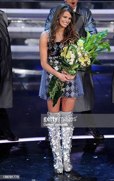 Ivana Mrazova attends the closing night of the 62th Sanremo Song Festival at the Ariston Theatre on February 18 2012 in Sanremo Italy