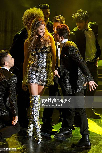Ivana Mrazova performs on stage at the closing night of the 62th Sanremo Song Festival at the Ariston Theatre on February 18 2012 in Sanremo Italy
