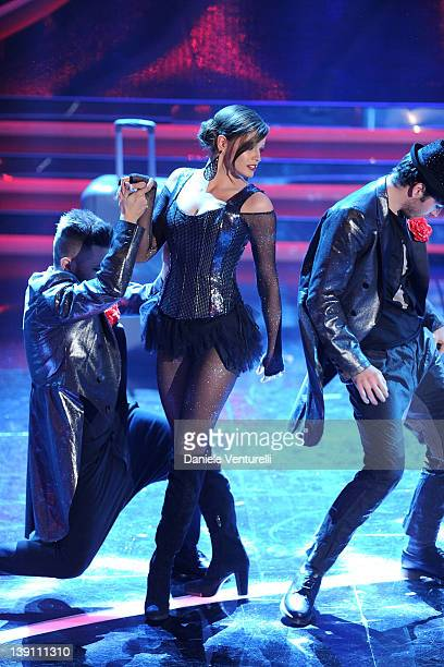 Ivana Mrazova performs on stage at the third day of the 62th Sanremo Song Festival at the Ariston Theatre on February 16 2012 in Sanremo Italy