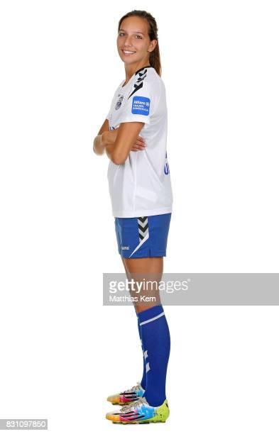 Ivana Rudelic of FF USV Jena poses during the Allianz Frauen Bundesliga Club Tour at Ernst Abbe Sportfeld on August 11 2017 in Jena Germany