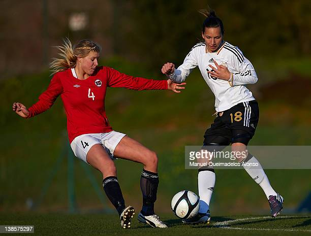 Ivana Rudelic of Germany battles for the ball with Ingrid Sondena of Norway during the Women's International friendly match between Norway and...
