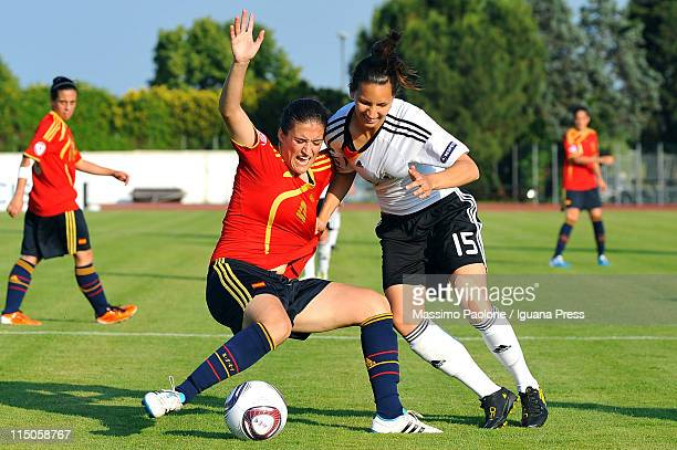 Ivana Rudelic of Germany competes with Marta Luna Iriante of Spain during the UEFA European Women's U19 Championship match between Germany and Spain...