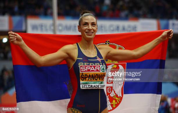Ivana Spanovic of Serbia celebrates after after winning the gold medal during the Women's Long Jump final on day three of the 2017 European Athletics...