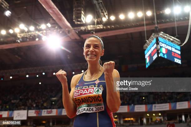Ivana Spanovic of Serbia celebrates after breaking her national record during the Women's Long Jump final on day three of the 2017 European Athletics...