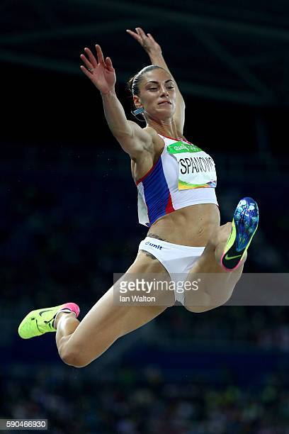Ivana Spanovic of Serbia competes during the Women's Long Jump Qualifying Round on Day 11 of the Rio 2016 Olympic Games at the Olympic Stadium on...