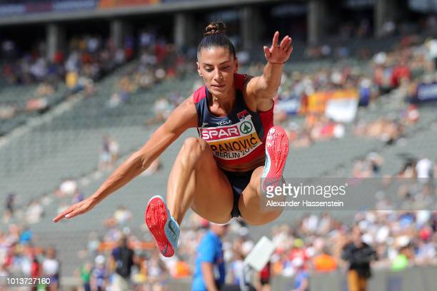 Ivana Spanovic of Serbia competes in the Women's Long Jump qualification during day three of the 24th European Athletics Championships at...