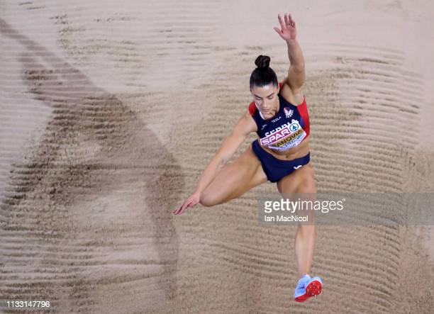 Ivana Spanovic of Serbia competes in the Women's Long Jump during the European Athletics Indoor Championships Day Two at the Emirates Arena on March...