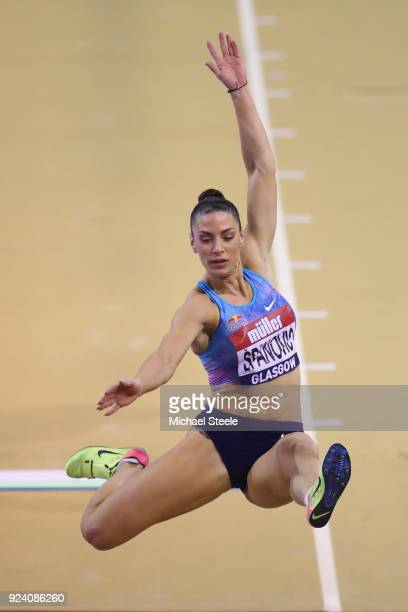 Ivana Spanovic of Serbia competes in the women's long jump during the Muller Indoor Grand Prix at Emirates Arena on February 25 2018 in Glasgow...