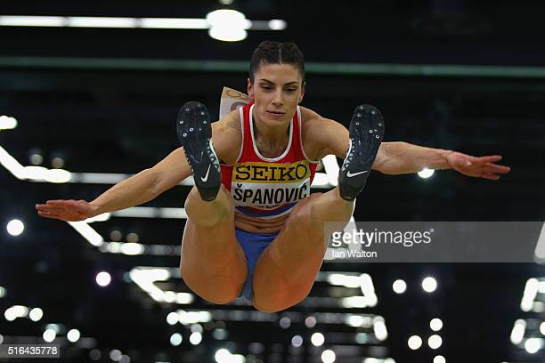 Ivana Spanovic of Serbia competes in the Women's Long Jump Final during day two of the IAAF World Indoor Championships at Oregon Convention Center on...
