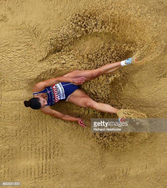 Ivana Spanovic of Serbia competes in the Women's Long Jump final during day eight of the 16th IAAF World Athletics Championships London 2017 at The...