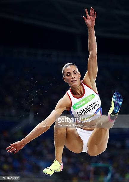 Ivana Spanovic of Serbia competes in the Women's Long Jump Final on Day 12 of the Rio 2016 Olympic Games at the Olympic Stadium on August 17 2016 in...