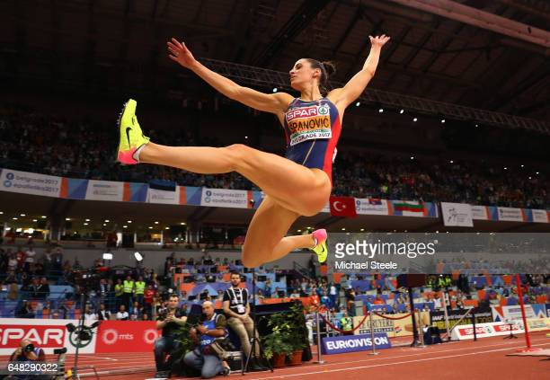 Ivana Spanovic of Serbia competes in the Women's Long Jump final on day three of the 2017 European Athletics Indoor Championships at the Kombank...