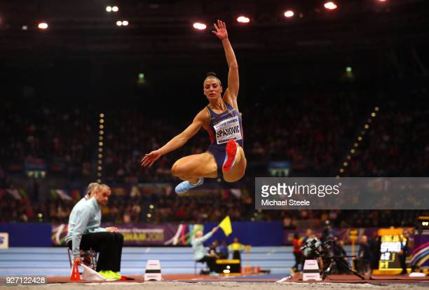 Ivana Spanovic of Serbia competes in the Women's Long Jump Final during the IAAF World Indoor Championships on Day Four at Arena Birmingham on March...