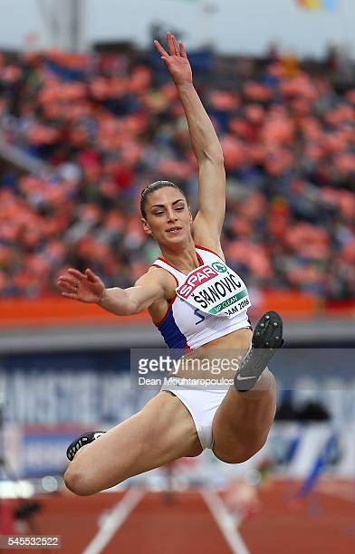 Ivana Spanovic of Serbia in action during the final of the womens long jump on day three of The 23rd European Athletics Championships at Olympic...