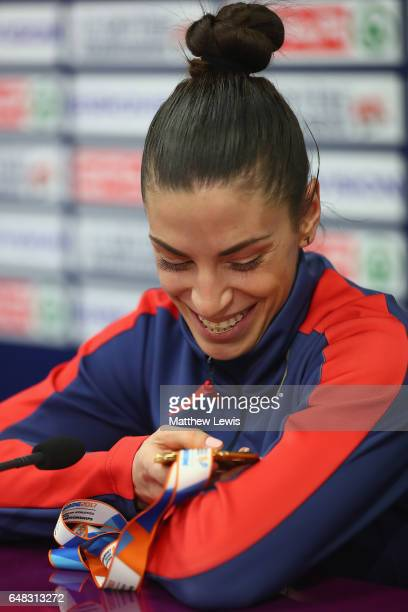 Ivana Spanovic of Serbia looks at her gold medal during a press conference after she won the Womens Long Jump on day three of the 2017 European...
