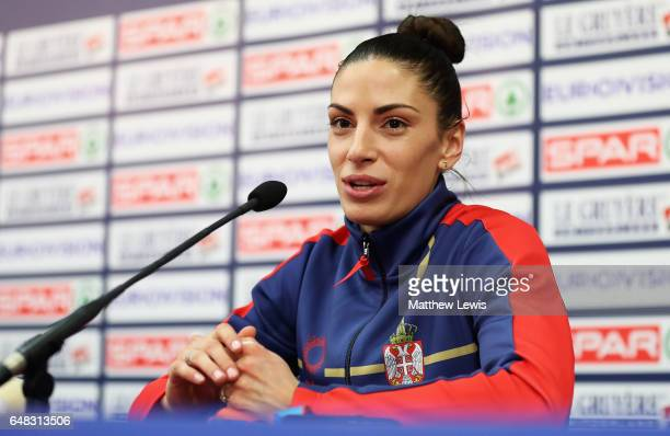 Ivana Spanovic of Serbia picturedl during a press conference after she won the gold in the Womens Long Jump on day three of the 2017 European...