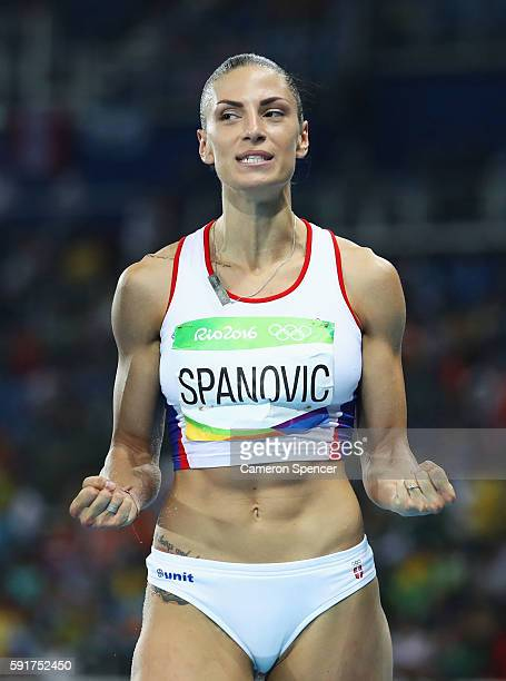 Ivana Spanovic of Serbia reacts during the Women's Long Jump Final on Day 12 of the Rio 2016 Olympic Games at the Olympic Stadium on August 17 2016...