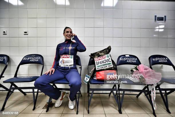 Ivana Spanovic of Serbia waits for the medal ceremony of the Womens Long Jump after she won Gold on day three of the 2017 European Athletics Indoor...