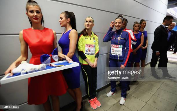 Ivana Spanovic of Serbia waits for the medal ceremony of the Womens Long Jump Final with Claudia SalmaRath of Germany and Lorraine Ugo of Great...