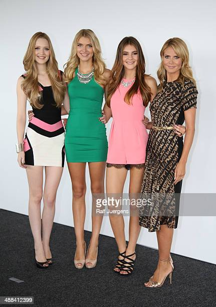Ivana Teklic Jolina Fust Stefanie Giesinger and Heidi Klum attend the Germany's Next Topmodel Finalists Photocall at KoelnSKY on May 06 2014 in...
