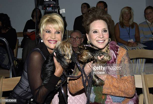 Ivana Trump and Cindy Adams during MercedesBenz Fashion Week Spring 2004 Zang Toi Front Row at Josephine Tent Bryant Park in New York City New York...