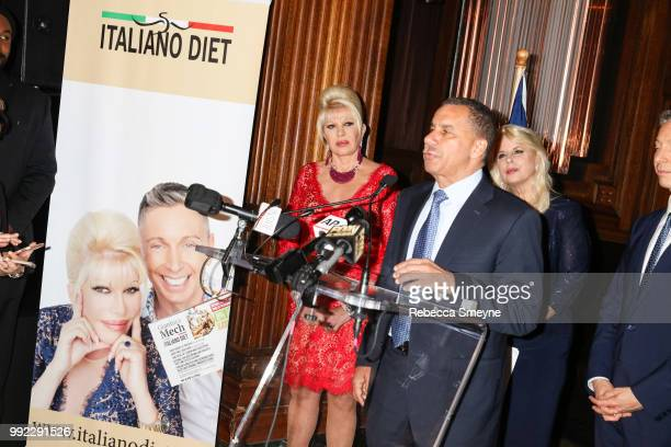 Ivana Trump and David Paterson make remarks at the book launch party and reception for Ivana Trump and Gianluca Mech's 'The Italiano Diet' at The Oak...