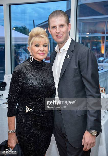 Ivana Trump and Eric Trump attend the 9th Annual Eric Trump Foundation Golf Invitational Auction Dinner at Trump National Golf Club Westchester on...