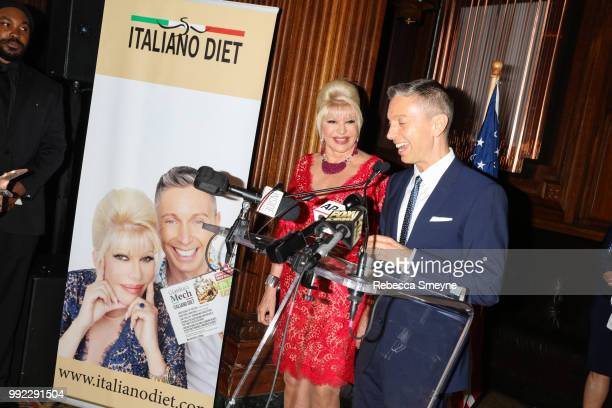 Ivana Trump and Gianluca Mech make remarks at the book launch party and reception for Ivana Trump and Gianluca Mech's 'The Italiano Diet' at The Oak...