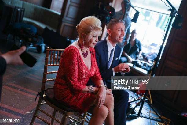 Ivana Trump and Gianluca Mech sit for a television interview at the book launch party and reception for Ivana Trump and Gianluca Mech's 'The Italiano...