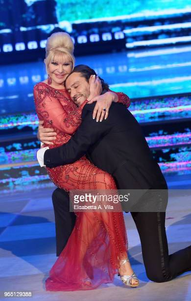 Ivana Trump and her exhusband Rossano Rubicondi perform on the Italian TV show 'Ballando Con Le Stelle' at RAI Auditorium on May 5 2018 in Rome Italy