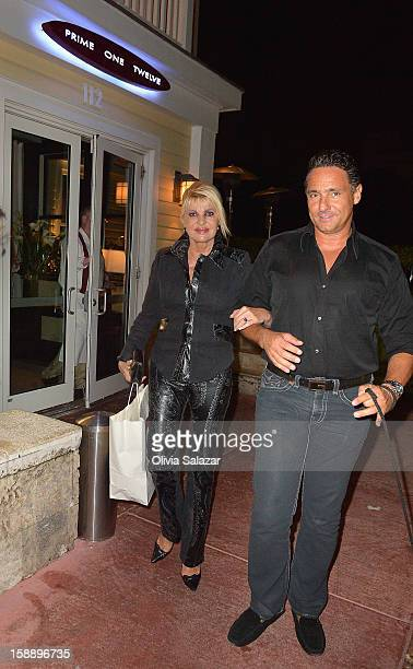 Ivana Trump and Marcantonio Rota are seen at Prime 112 Steakhouse on January 2 2013 in Miami Beach Florida