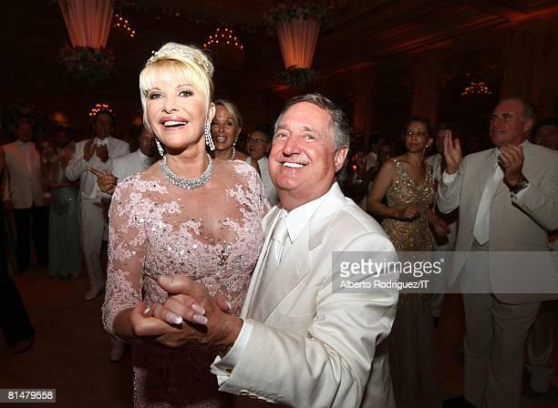 Ivana Trump and Neil Sedaka dance at Ivana's wedding reception at the MaraLago Club on April 12 2008 in Palm Beach Florida Ivana Trump's jewelry is...