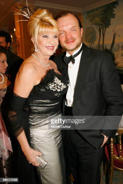 Ivana Trump and Prince Alexander Schumburg Lippe attend the The Best Awards 2005 party at Hotel Bristol on December 12 2005 in Paris France The...