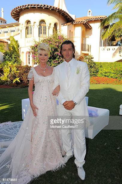 Ivana Trump and Rossano Rubicondi after their wedding at the MaraLago Club on April 12 2008 in Palm Beach Florida Ivana Trumps jewelry is by Leviev a...