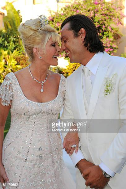 Ivana Trump and Rossano Rubicondi after their wedding at the MaraLago Club on April 12 2008 in Palm Beach Florida Ivana Trump's jewelry is by Leviev...
