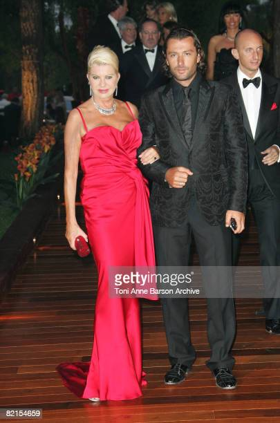 Ivana Trump and Rossano Rubicondi arrive at the 60th Monaco Red Cross Ball at the Monte-Carlo Sporting Club on August 1, 2008 in Monte Carlo, Monaco.
