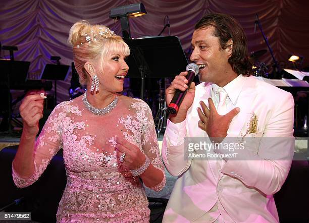 Ivana Trump and Rossano Rubicondi at their wedding reception at the MaraLago Club on April 12 2008 in Palm Beach Florida Ivana Trump's jewelry is by...