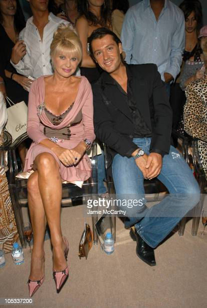 Ivana Trump and Rossano Rubicondi during Olympus Fashion Week Spring 2005 Lloyd Klein Front Row at Plaza Tent Bryant Park in New York City New York...