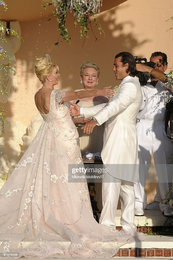 Ivana Trump and Rossano Rubicondi during their wedding at the Mar-a-Lago Club on April 12, 2008 in Palm Beach, Florida. Judge Maryanne Trump Berry (C) officiated. Ivana Trumps jewelry is by Leviev, a diamond bracelet, earrings and necklace totaling 150 carats. Her hair is by Clifford and her make-up by Pablo Rodriguez. Grooms Attire: Dolce & Gabbana.