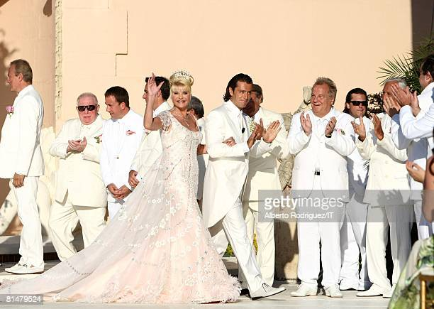 RATES Ivana Trump and Rossano Rubicondi during their wedding at the MaraLago Club on April 12 2008 in Palm Beach Florida Grooms Attire Dolce Gabbana