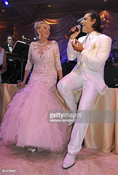 Ivana Trump and Rossano Rubicondi during their wedding reception at the MaraLago Club on April 12 2008 in Palm Beach Florida Ivana Trumps jewelry is...
