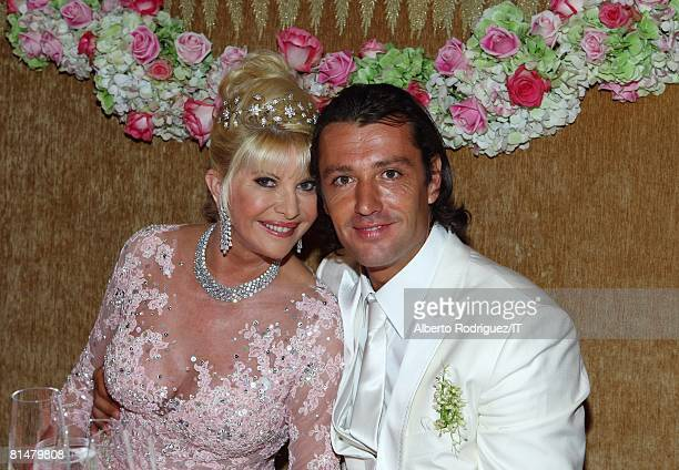 RATES Ivana Trump and Rossano Rubicondi pose during the reception for the wedding of Ivana Trump and Rossano Rubicondi at the MaraLago Club on April...